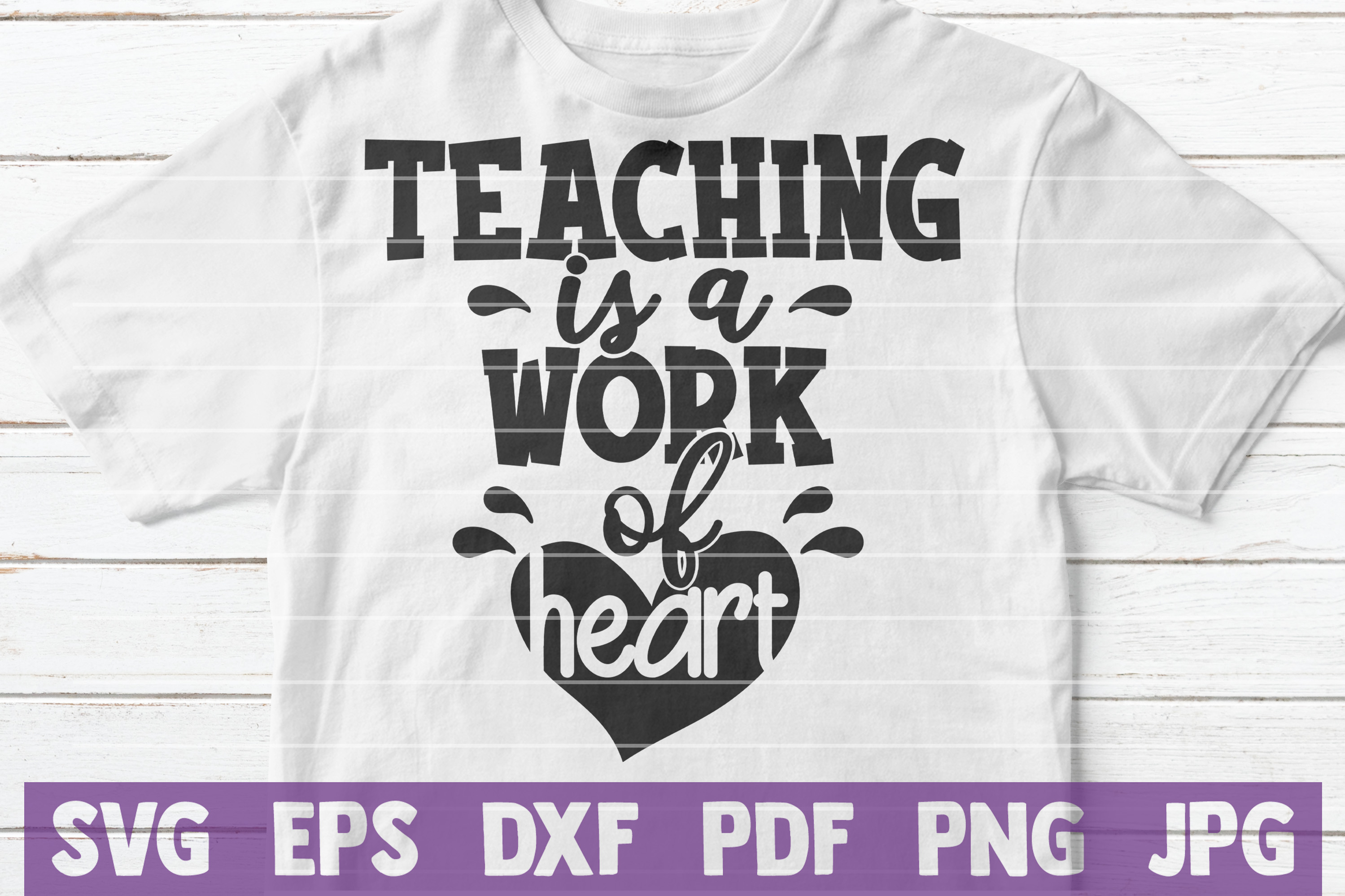 Teaching is a Work of Heart SVG Cut File | commercial use example image 2