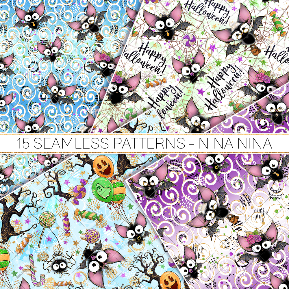Cute Halloween Seamless Patterns, Bats Digital Papers Pack example image 2
