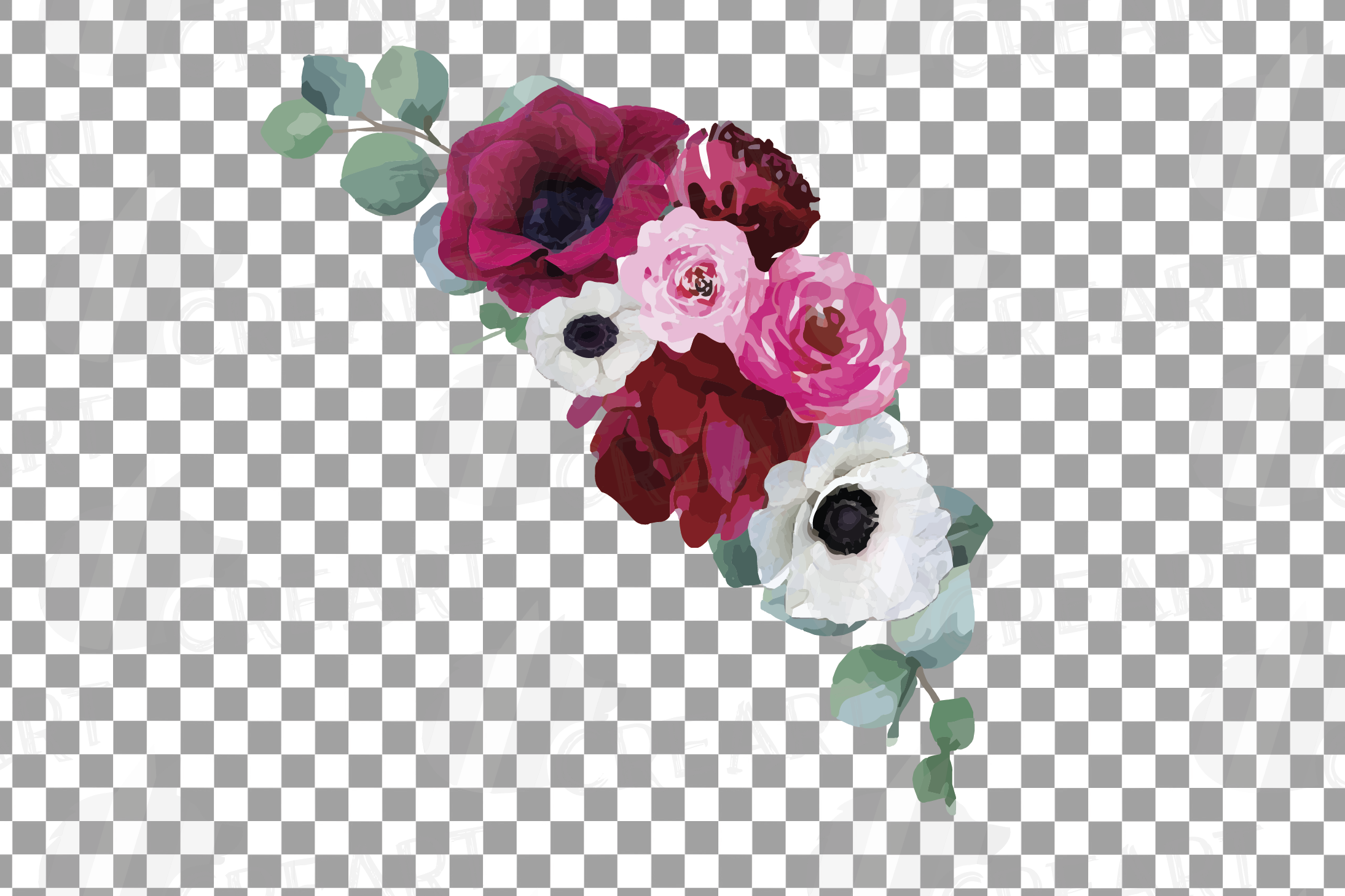Watercolor elegant floral bouquets 2, rose, anemone decor example image 11
