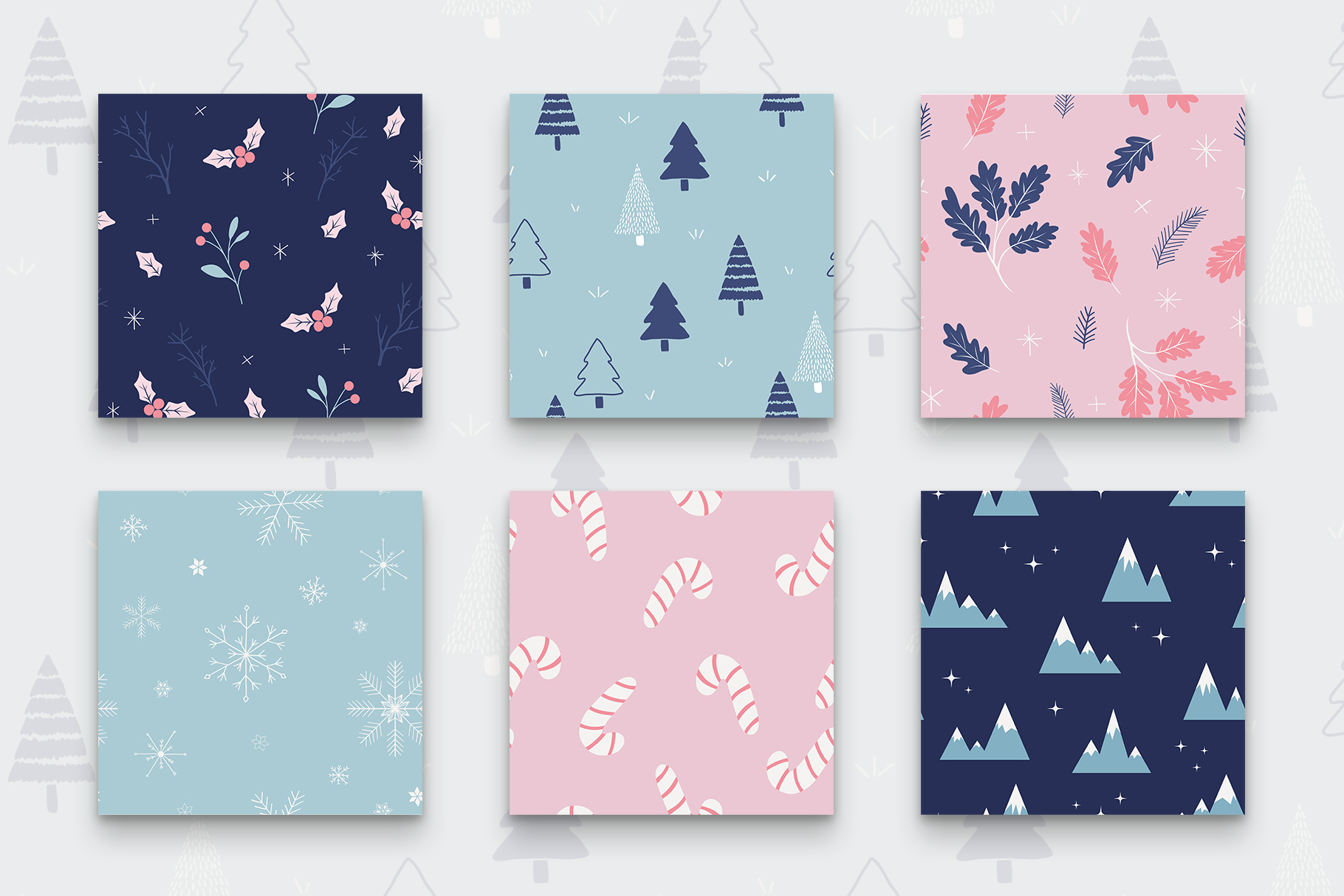 Winter Holidays Seamless Pattern Set example image 2