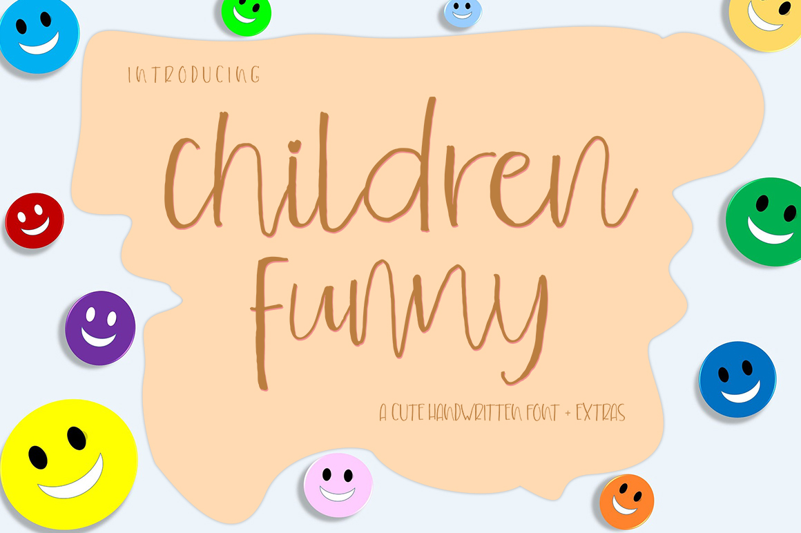 Children Funny Cute Handwritten Font With Extras example image 6