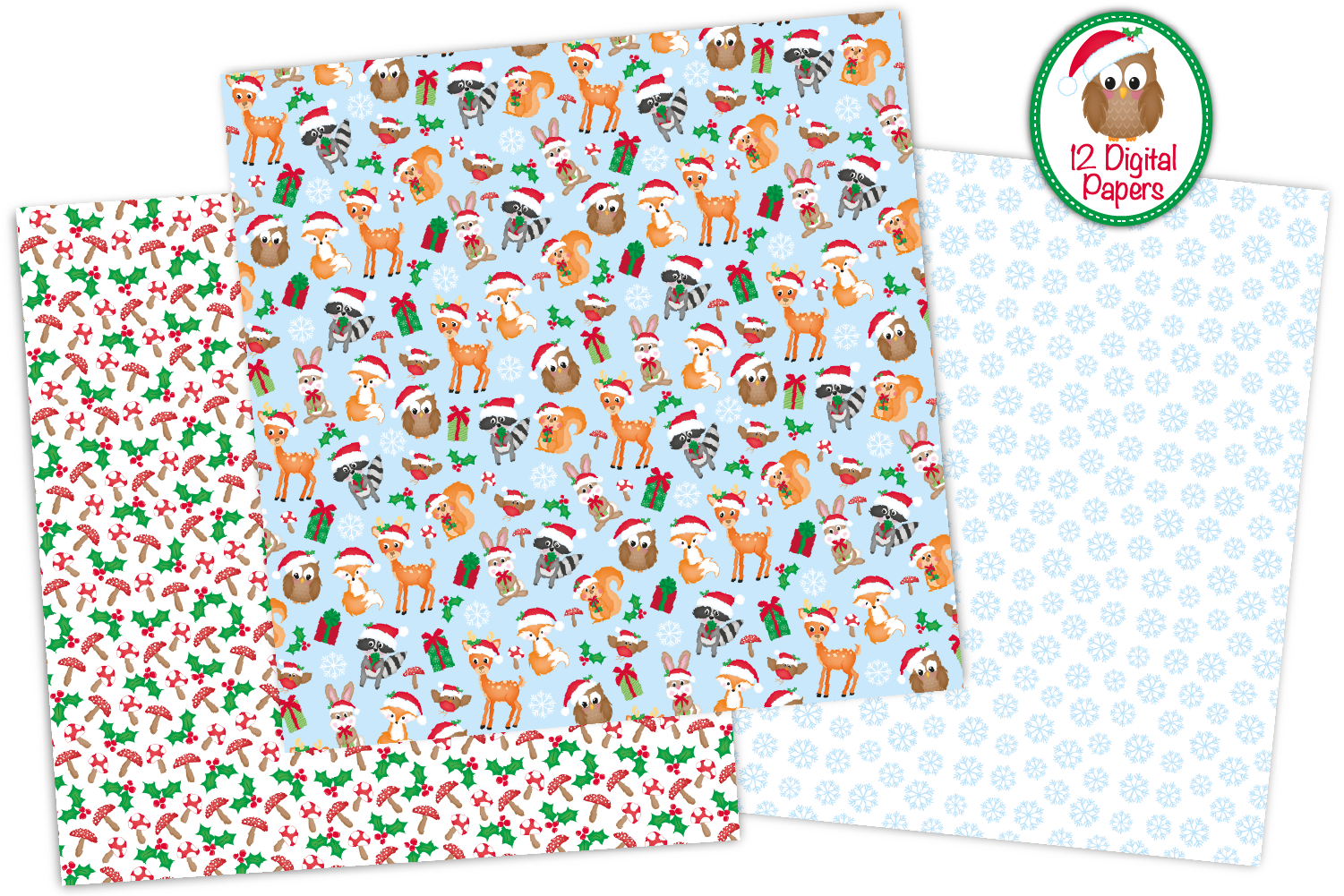 Christmas digital papers, Christmas patterns example image 2