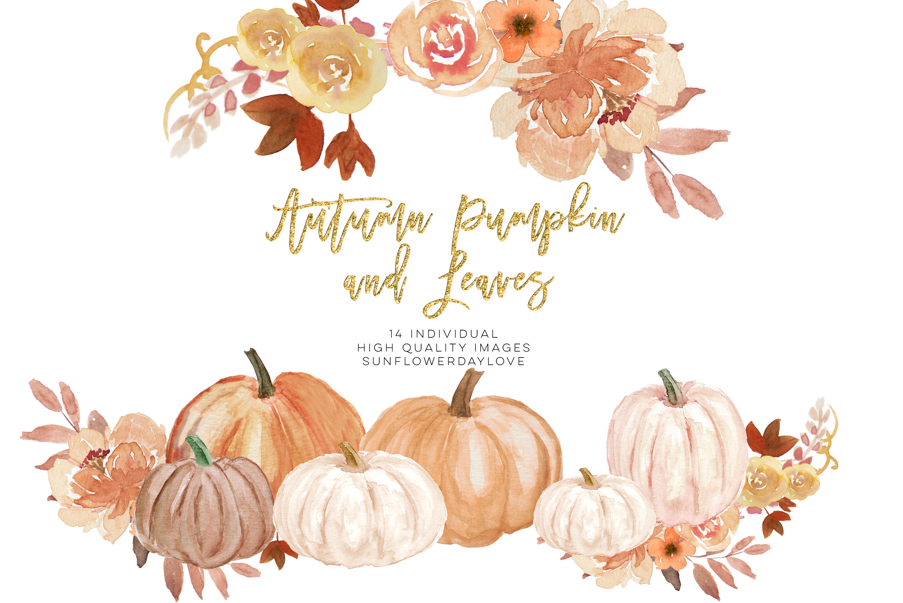 Autumn Wreath Pumpkin and leaves clipart example image 2