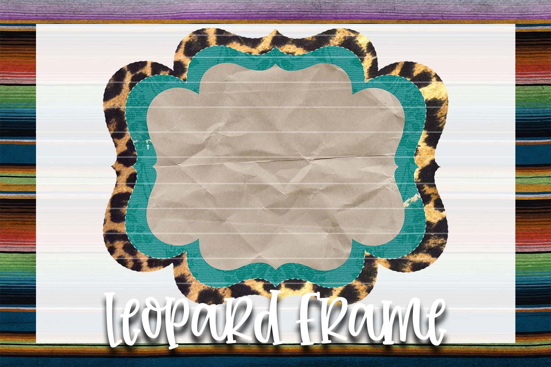 Teal Grunge & Leopard Frame Background Element example image 1