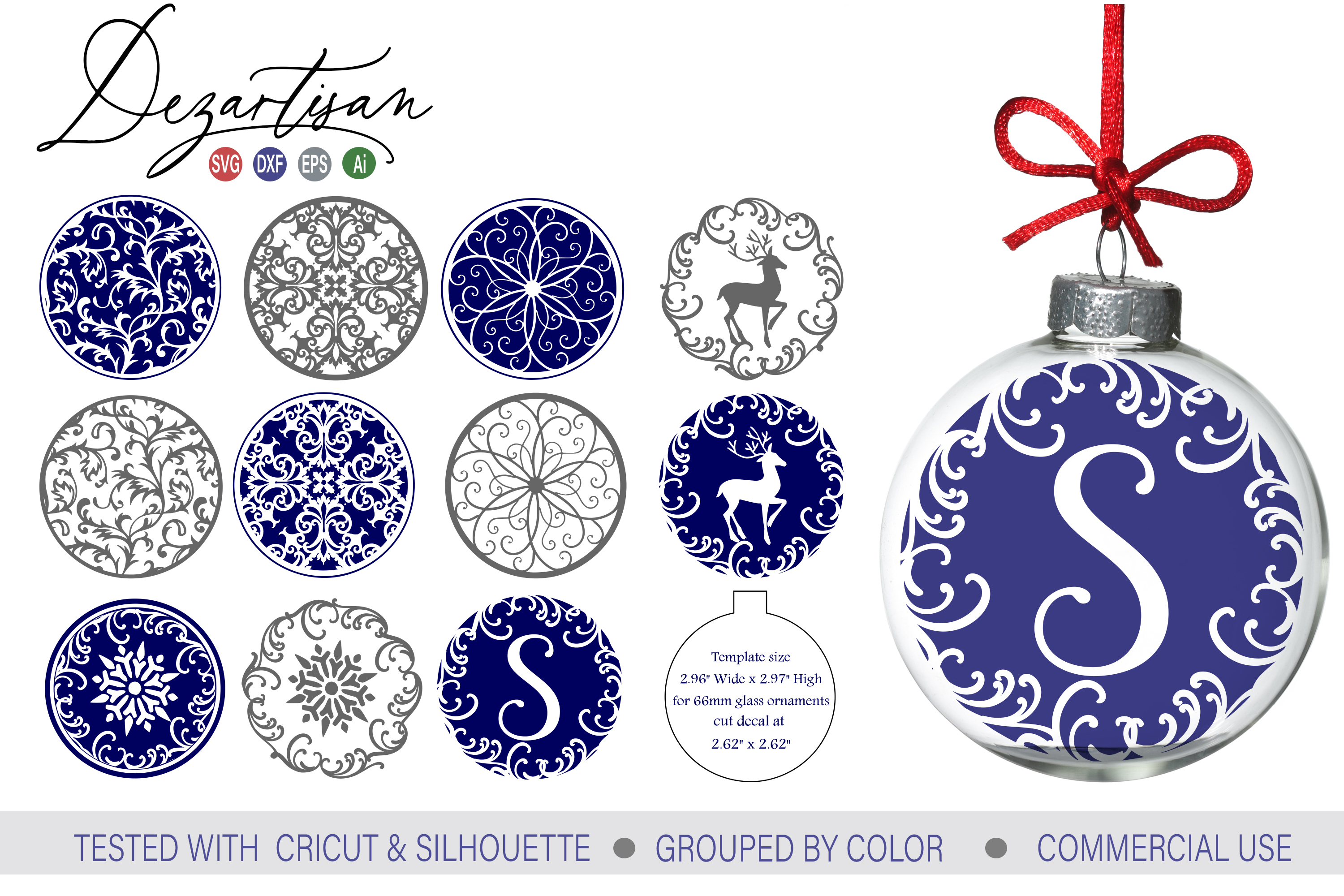 Fancy Christmas Snowflake Floating Ornament Designs example image 1