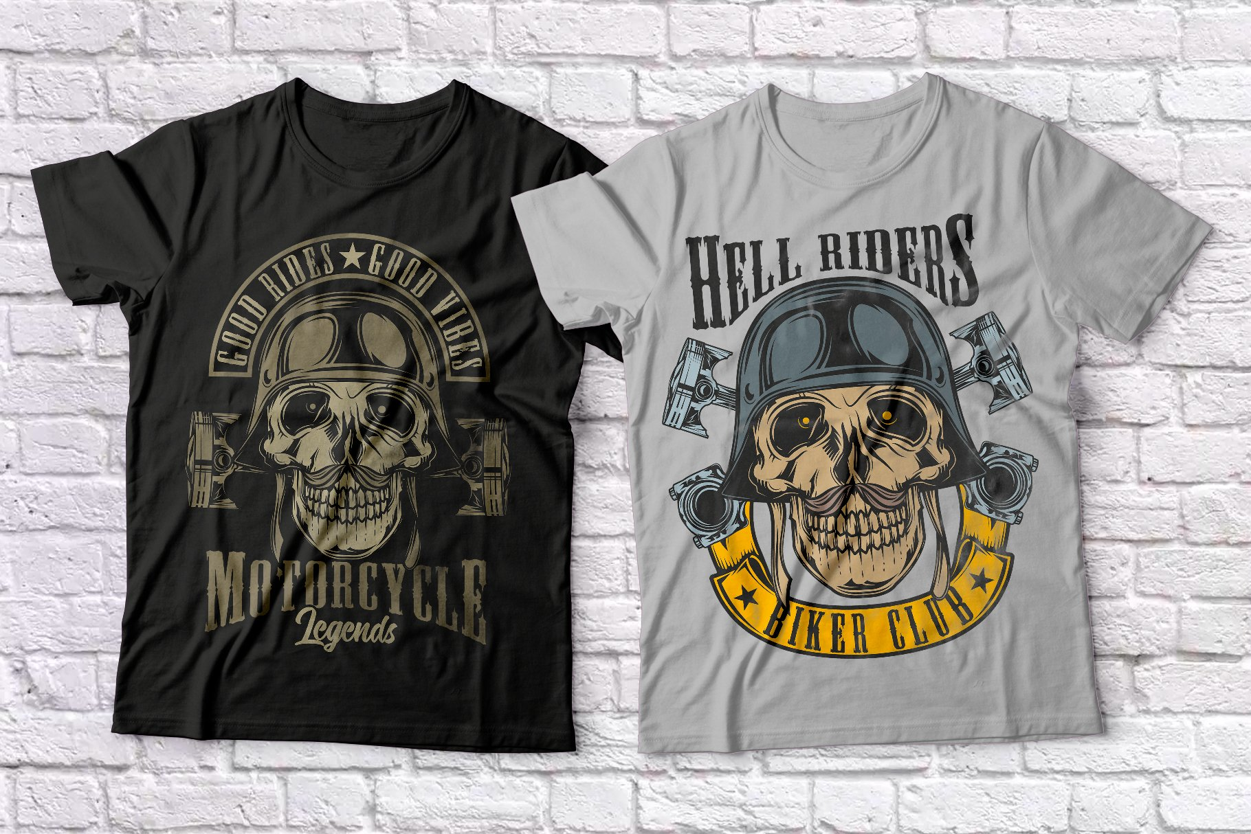 Warriors and bikers T-shirts set example image 3