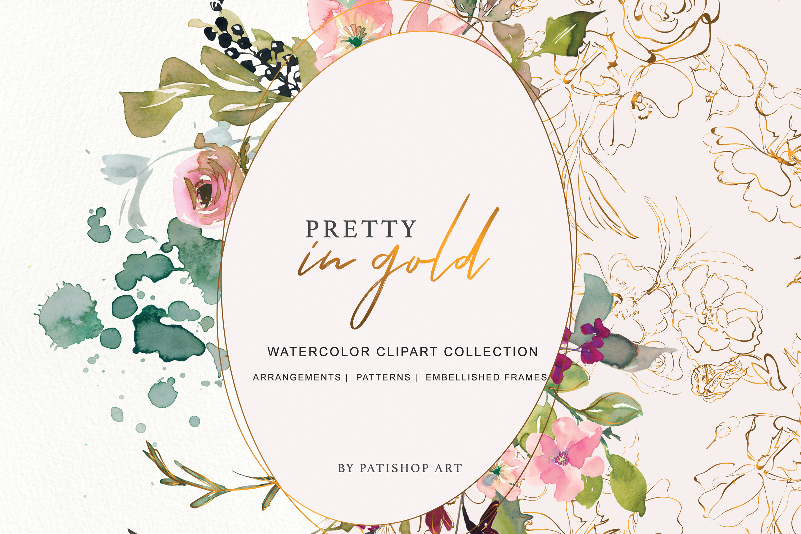 Watercolor Burgundy Blush and Gold Floral Bouquet Clipart example image 3