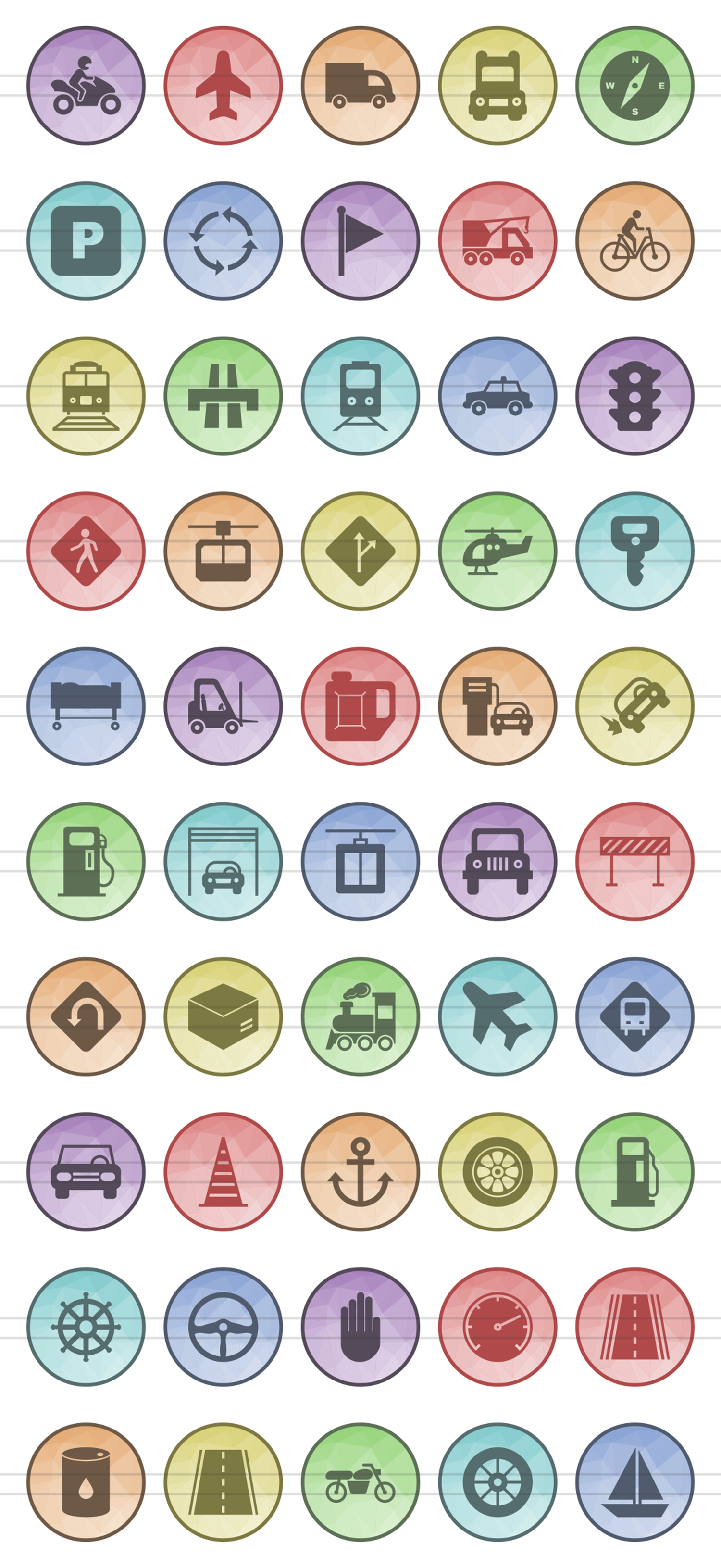 50 Transportation Filled Low Poly Icons example image 2