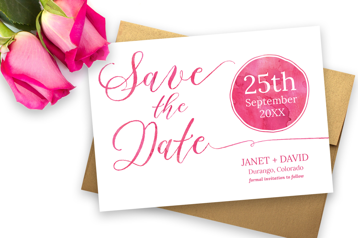 Watercolor Save the Date example image 1