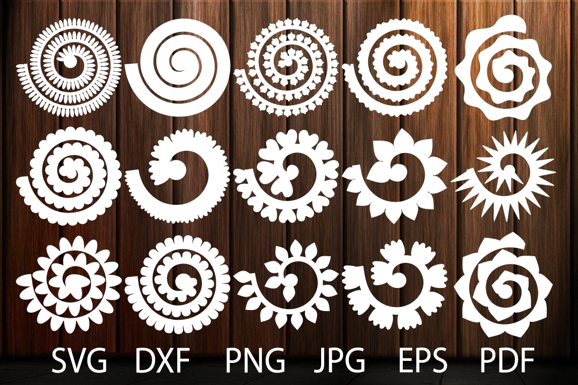 Rolled Paper Flower Templates SVG, 3D Rose SVG, Origami Rose example image 1