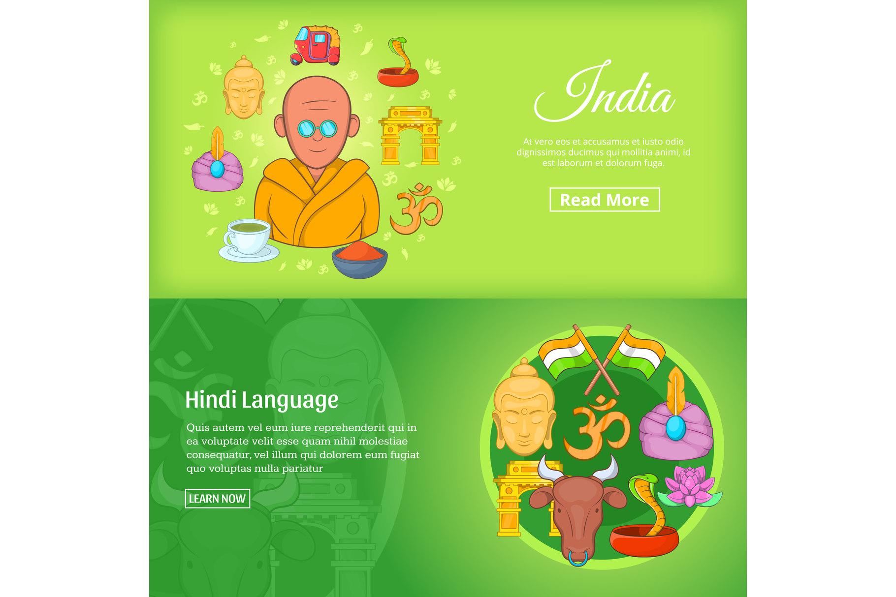 Indian banner set template, cartoon style example image 1