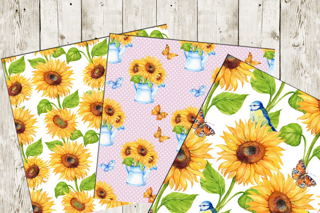Watercolor digital Paper,Sunflower Pattern , Sunflower Background, Floral Digital Paper,  Sunflower Paper Watercolor paper example image 2