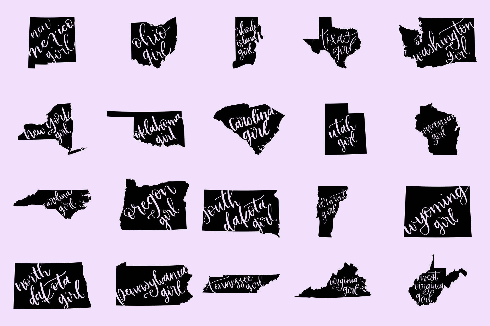 The US State Girl SVG Bundle example image 3