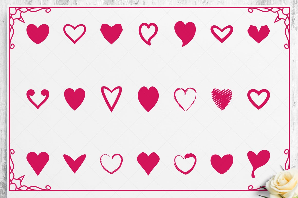 100 Heart Vector Ornaments and Seamless Patterns example image 24