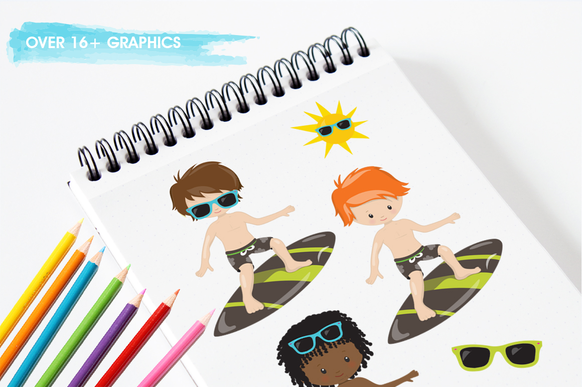 Surfing Boys graphic and illustrations example image 5
