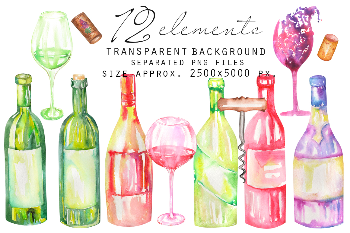 Wine. Watercolor clip art. example image 2