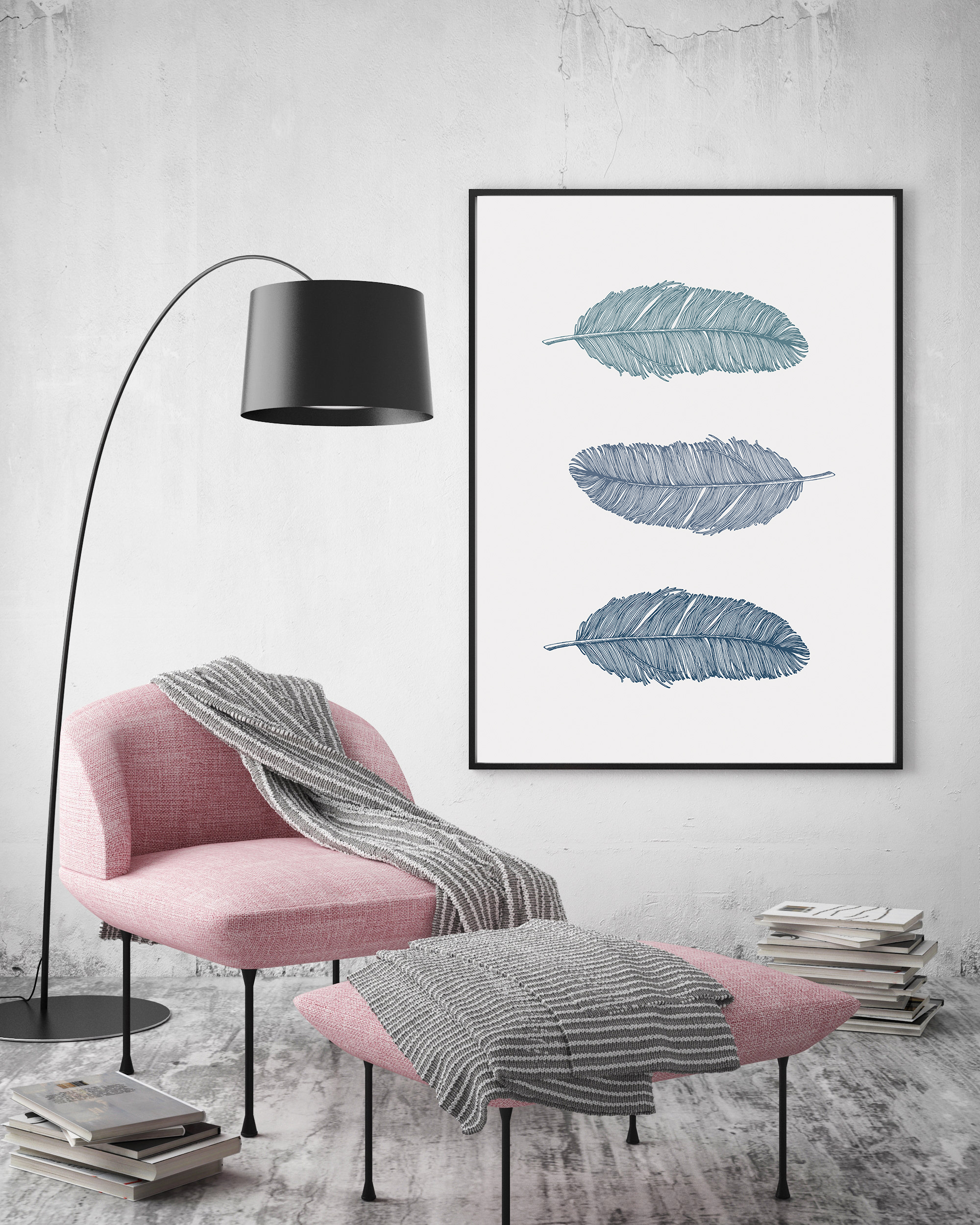 Blue Feather Prints, Bohemian Wall Art Blue, Nursery Poster example image 5
