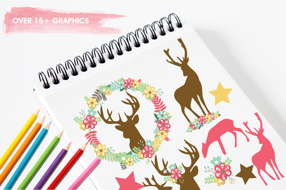 Floral Deers graphics and illustrations example image 3