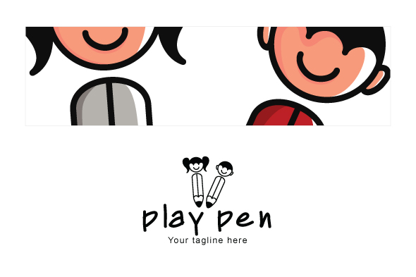 Play Pen - Cute Kids Abstract Stock Logo Template example image 3