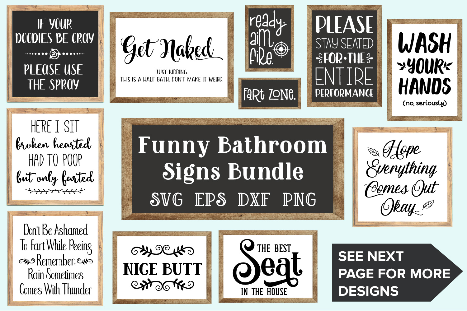 Bathroom Signs Bundle - SVG, EPS, DXF, PNG (112137) | SVGs ...