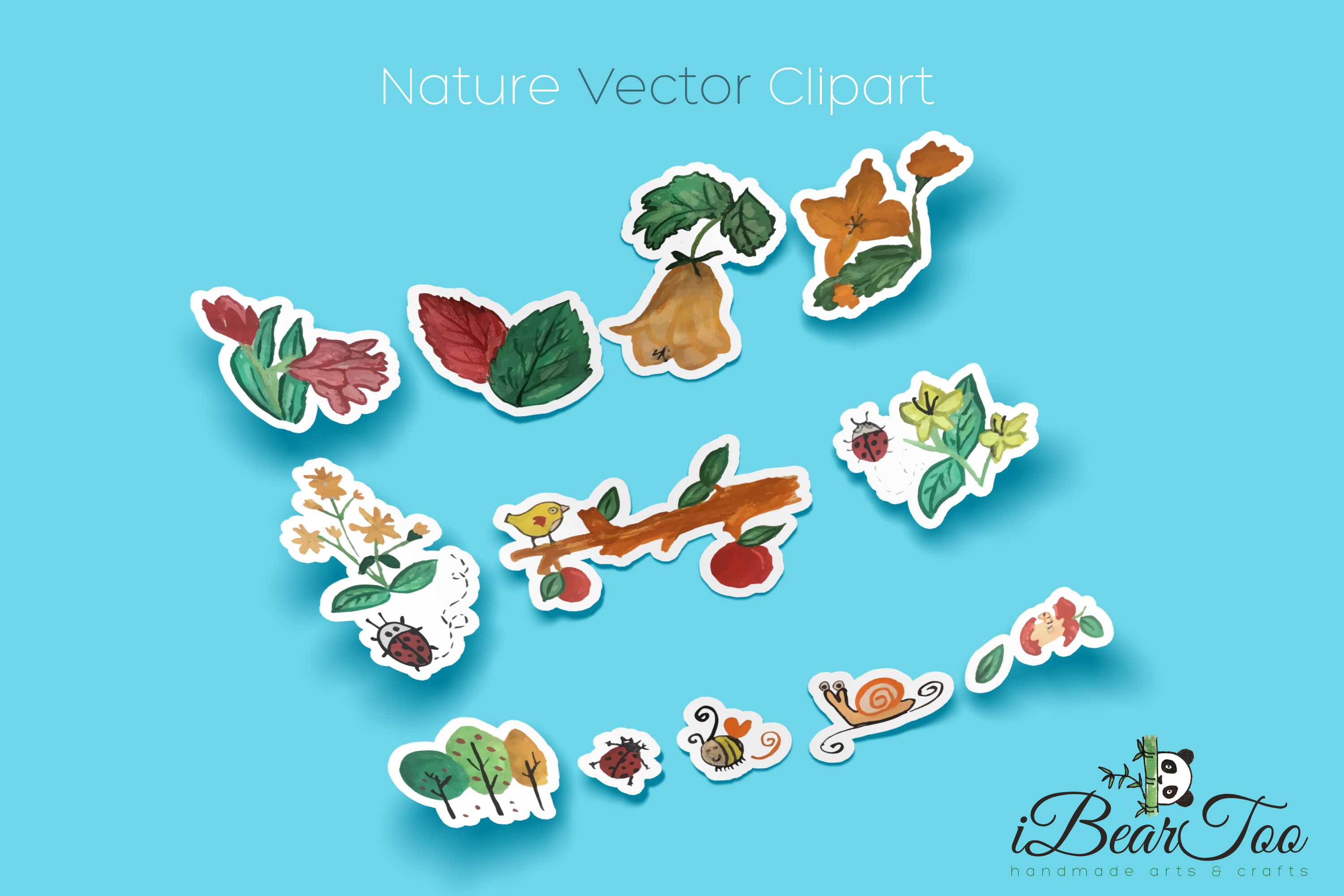 Nature SVG Bundle Watercolor Clipart Drawing Vector Cutfiles example image 3