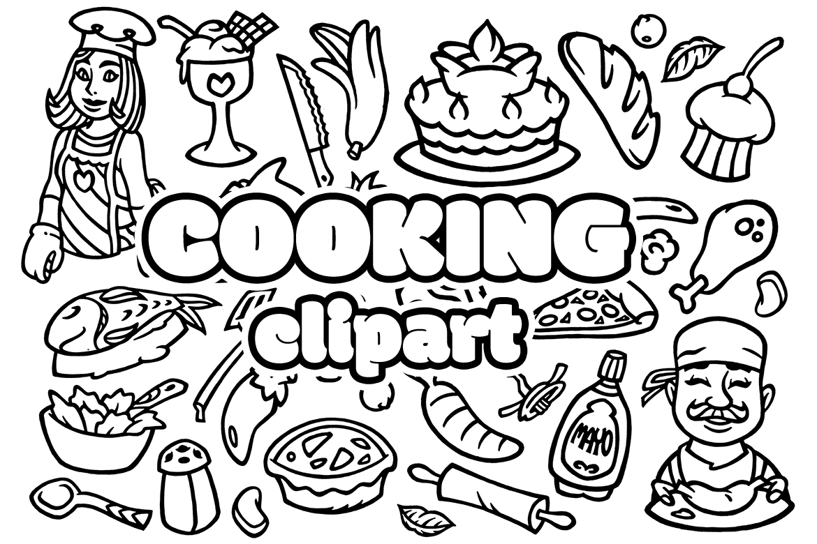 30 Cooking Doodles Clipart example image 2