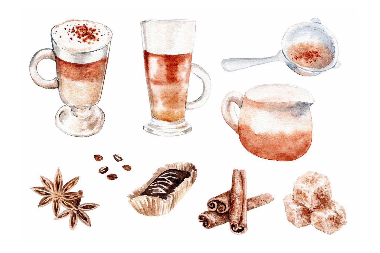 watercolor drawings coffee set example image 3