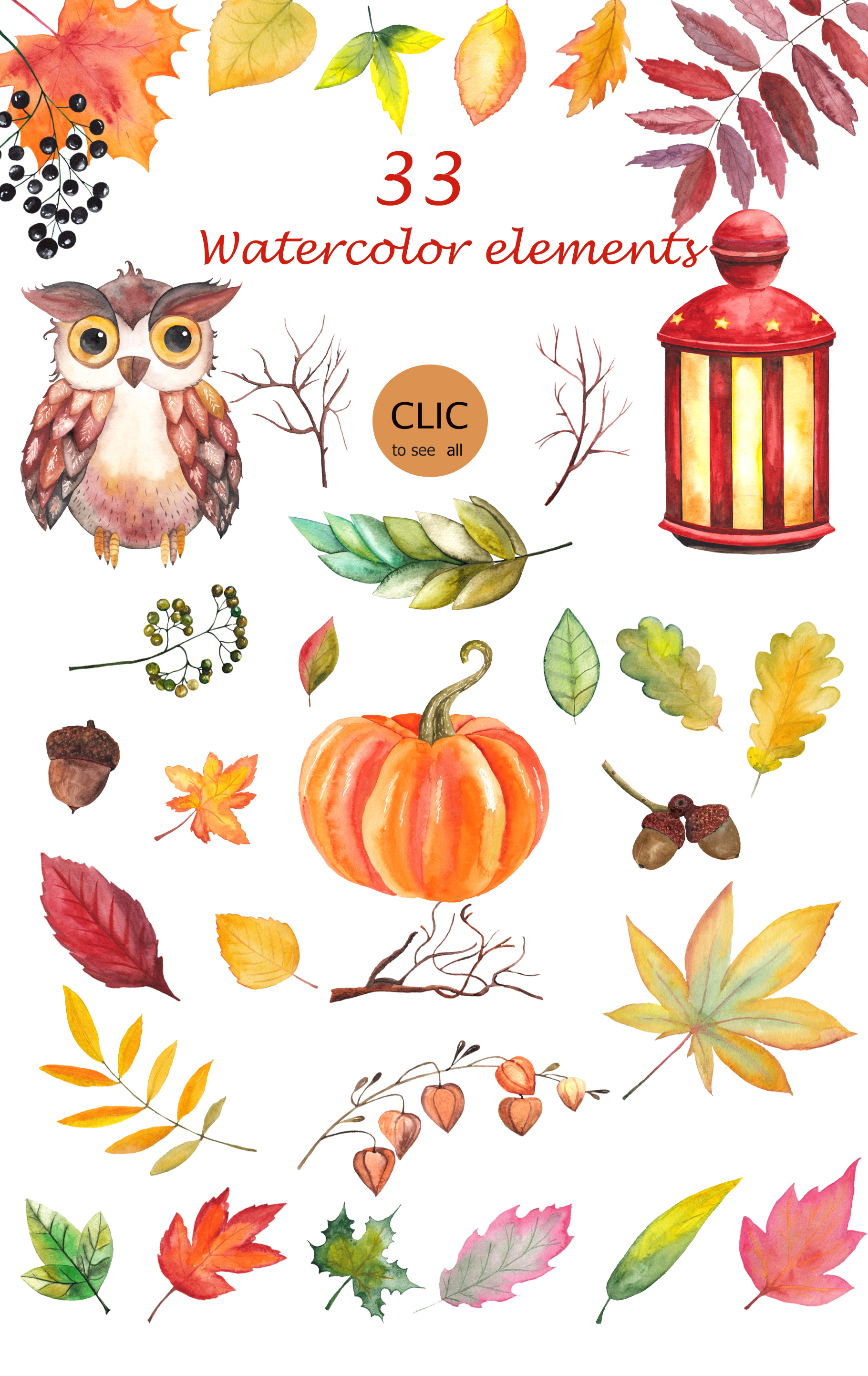 Watercolor autumn BUNDLE example image 28