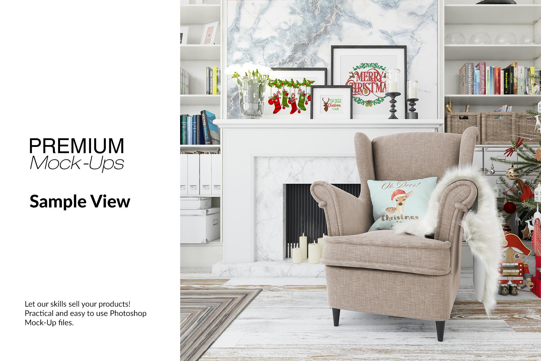 Christmas Living Room - Pillow & Frames Set example image 11