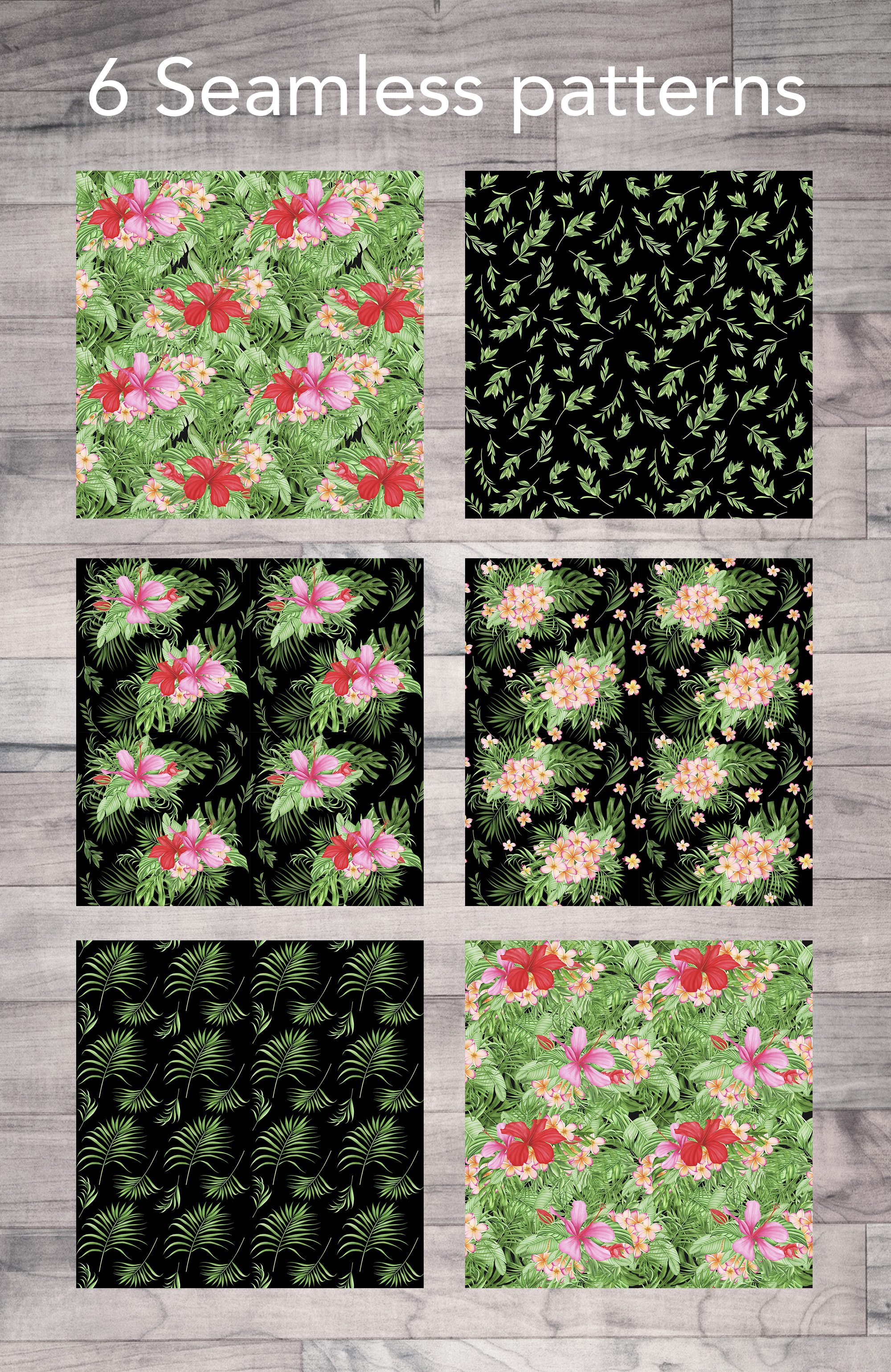 Tropical leaves and flowers patterns example image 2