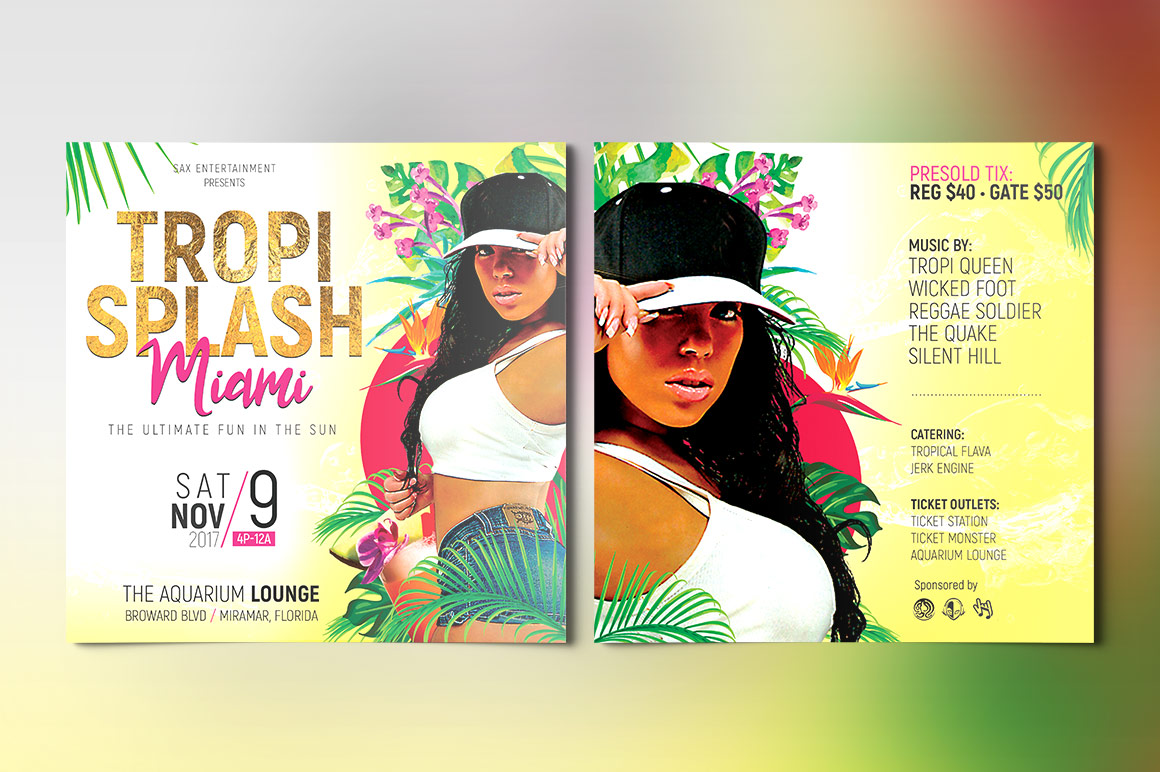 Tropical Party Small Flyer Template example image 2