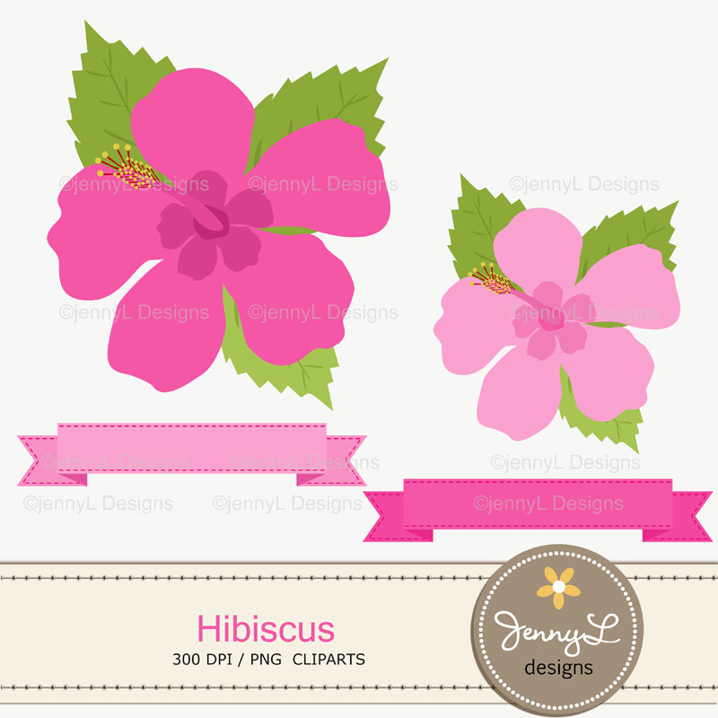 Pink Hibiscus Digital Papers And Hibiscus Flower Clipart Set