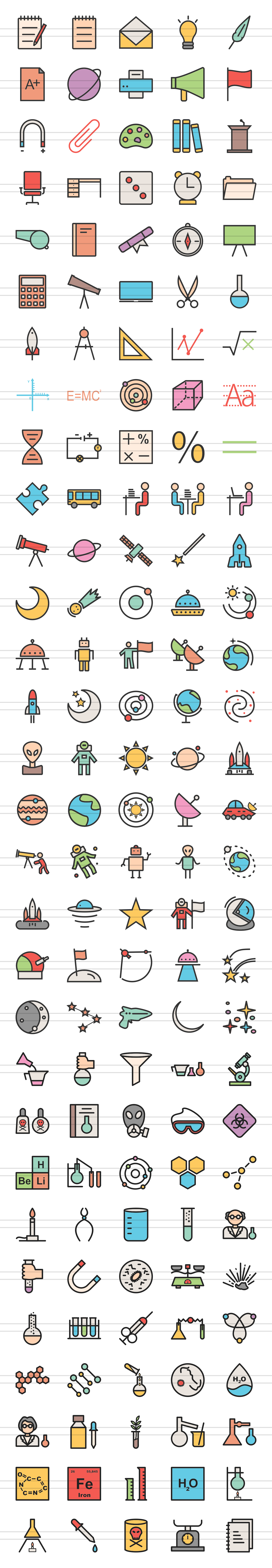 150 Science Filled Line Icons example image 2