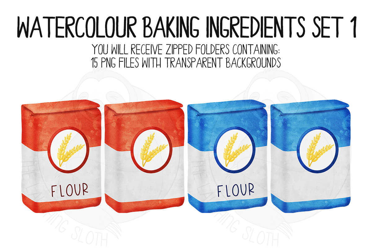 Watercolor Baking Ingredients Clip Art Set example image 2