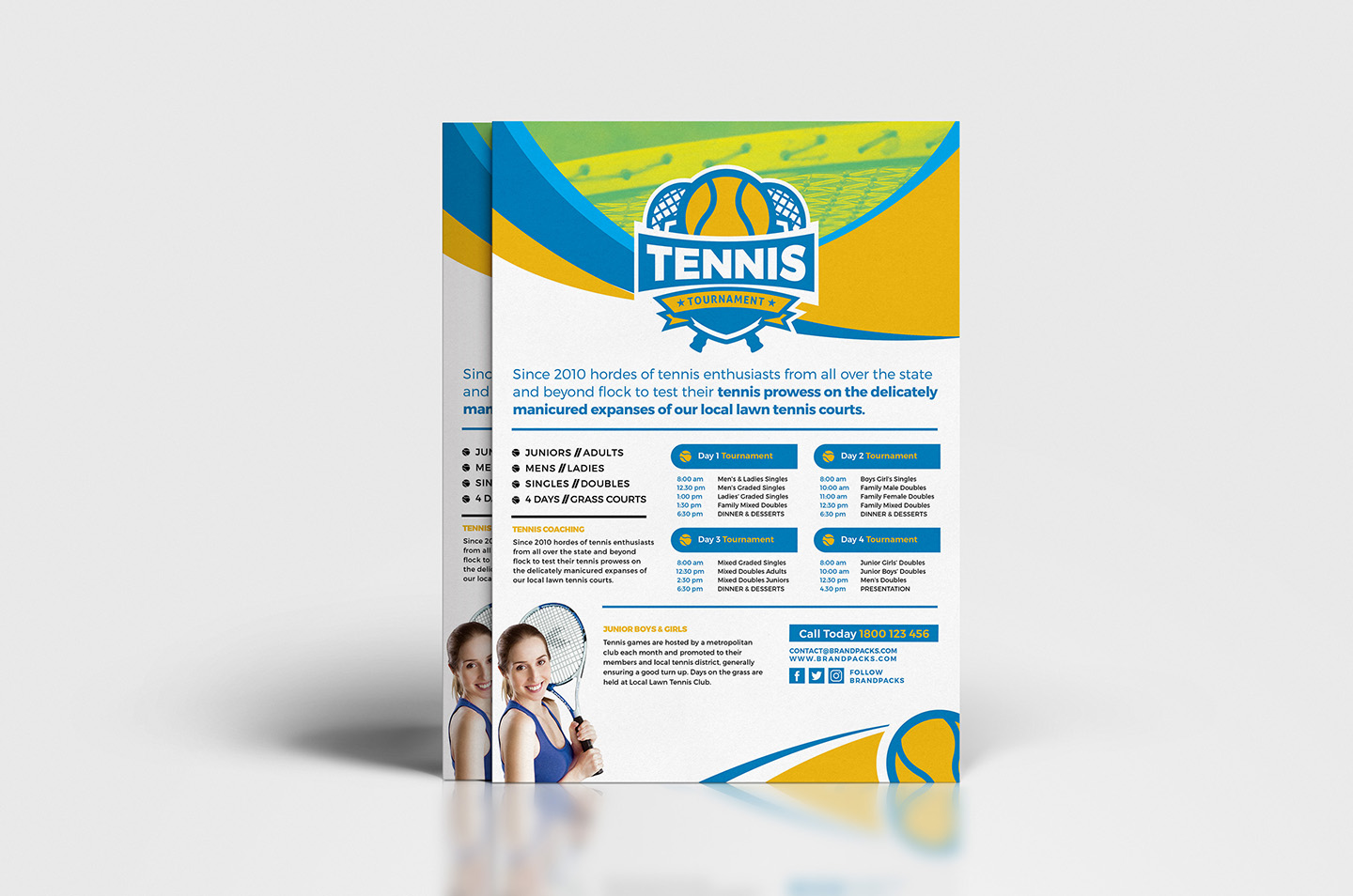 A4 Tennis Tournament Poster Template example image 4