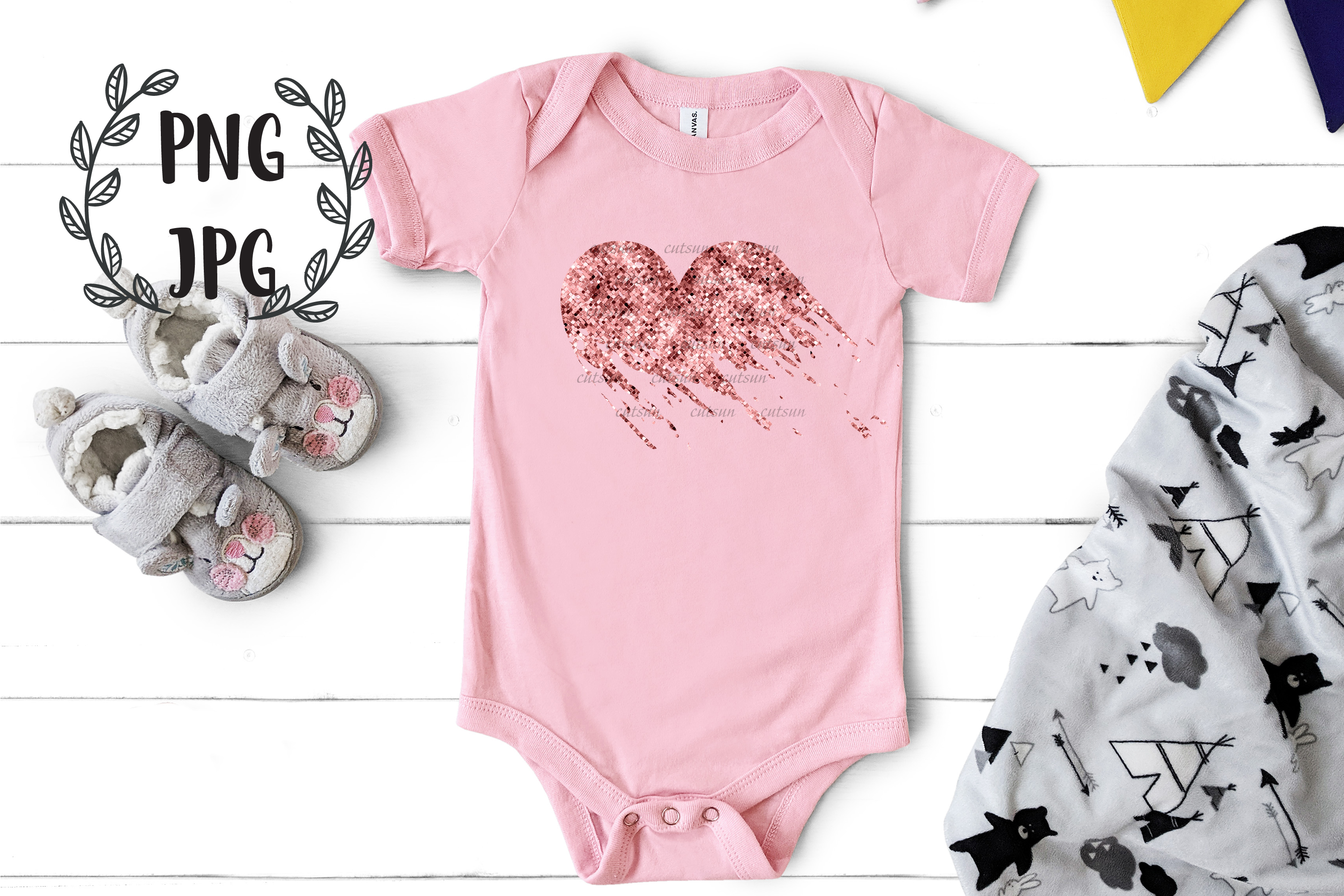 Rose Gold Distressed Heart sublimation design example image 3