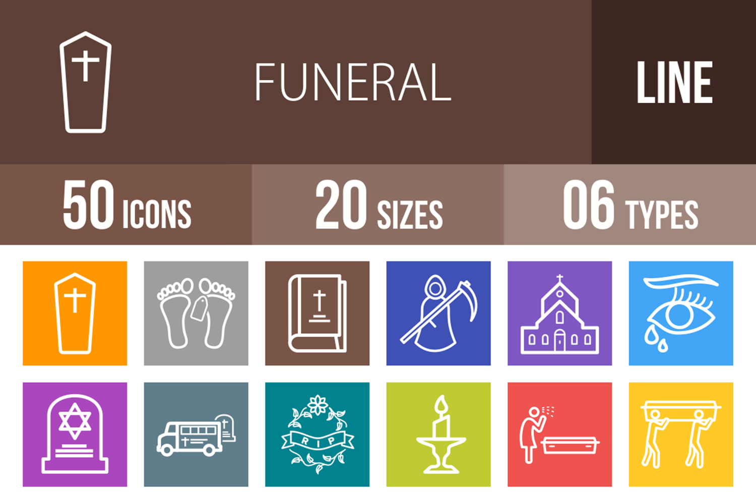 50 Funeral Line Multicolor B/G Icons example image 1