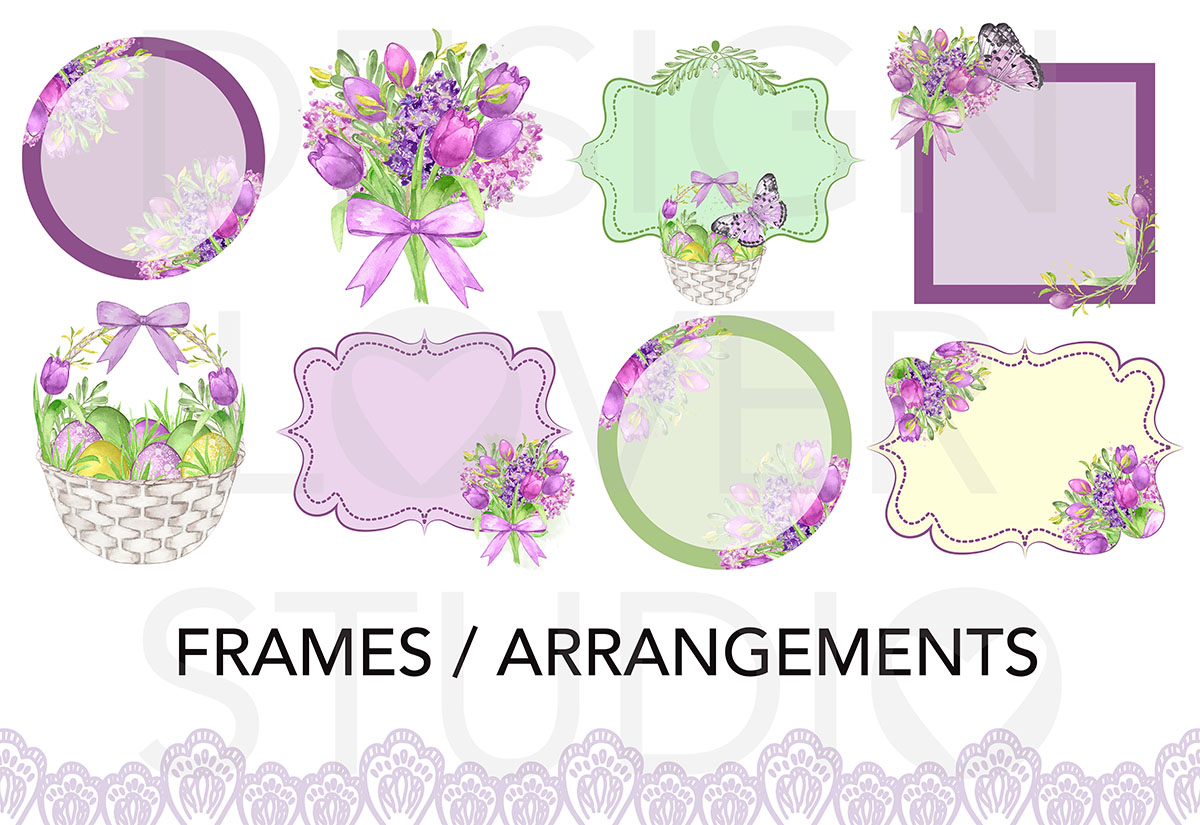 Watercolor PURPLE EASTER design example image 2