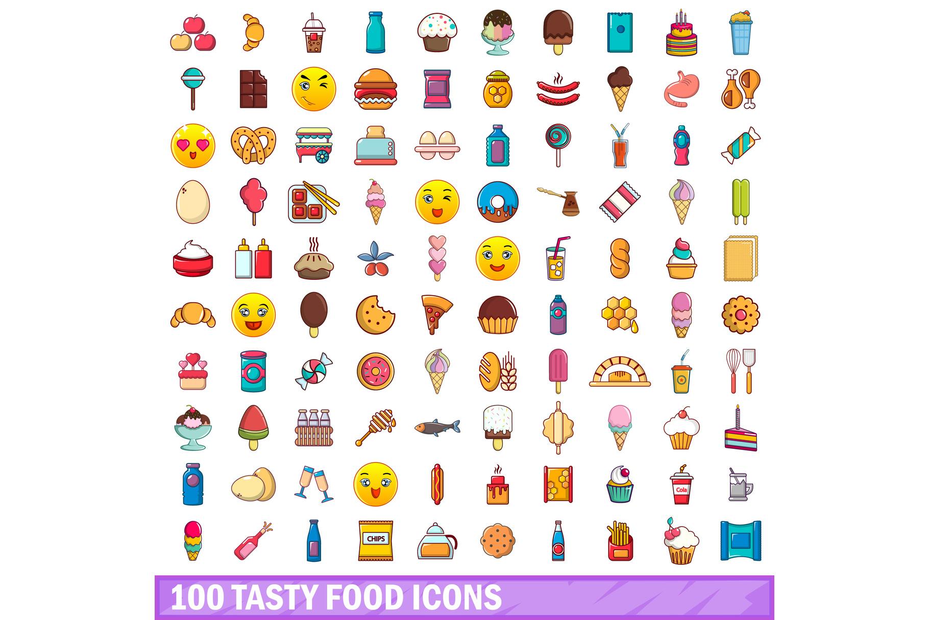 100 tasty food icons set, cartoon style example image 1