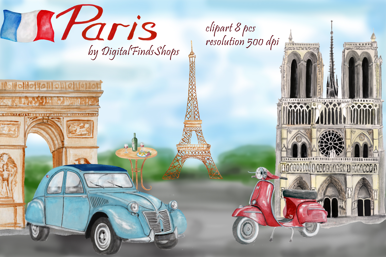 Paris clipart, Notre Dame, scooter clipart, eiffel tower example image 1
