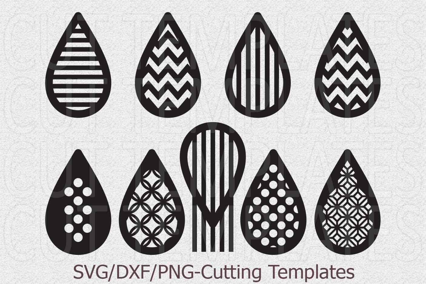 Download Faux leather earrings Set svg Tear drop Pendant cut template