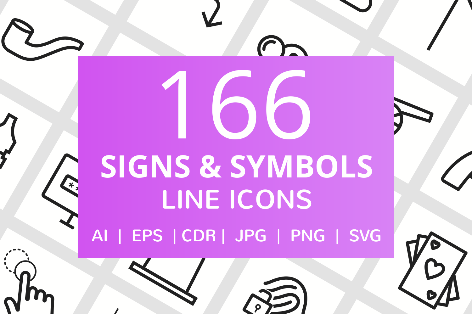 166 Signs & Symbols Line Icons example image 1