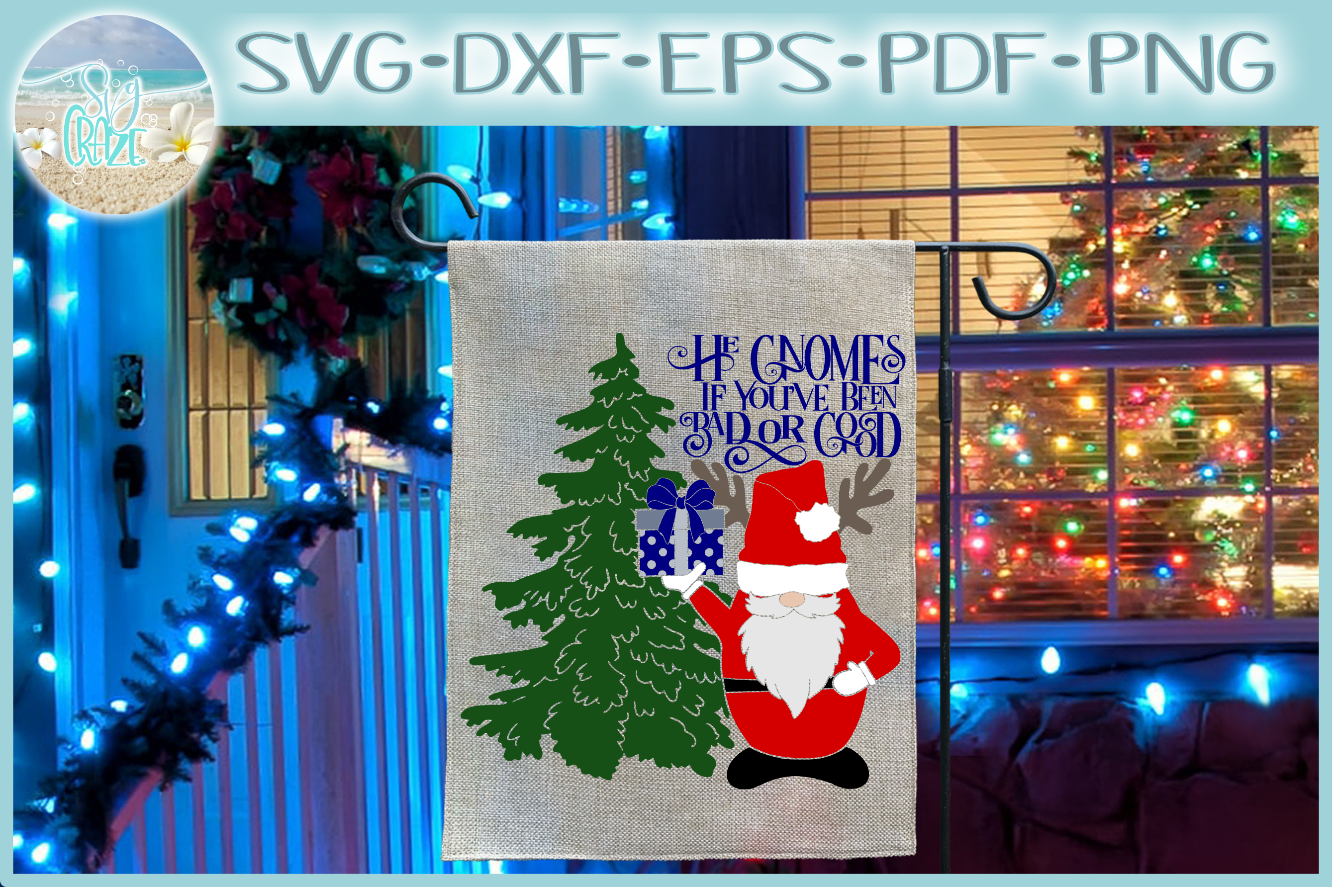 He Gnomes If Youve Been Bad Or Good Quote Santa Gnome SVG example image 1