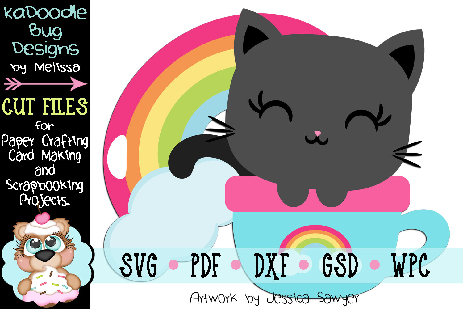 Rainbow Coffee Kitty Cut File - SVG PDF DXF GSD WPC example image 1