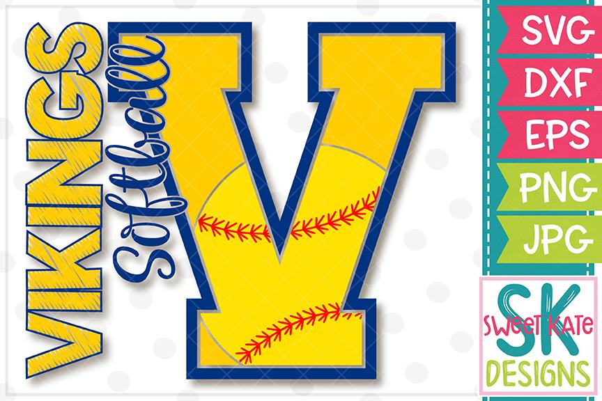 V Vikings Softball SVG DXF EPS PNG JPG example image 4