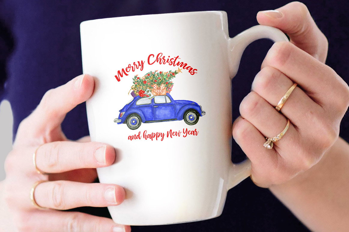 Watercolor Christmas Cars,Christmas Wreaths clipart Winter example image 4