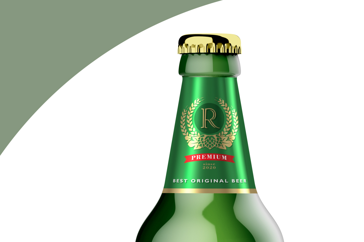 Green Glass Beer Bottle Mockup 500ml example image 5