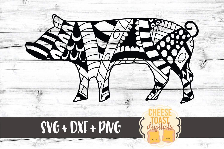 Pig - Zen Doodle Art - Animal SVG PNG DXF Files example image 1