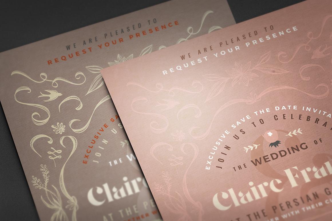 7 Vintage Deco Wedding Invitations I example image 8