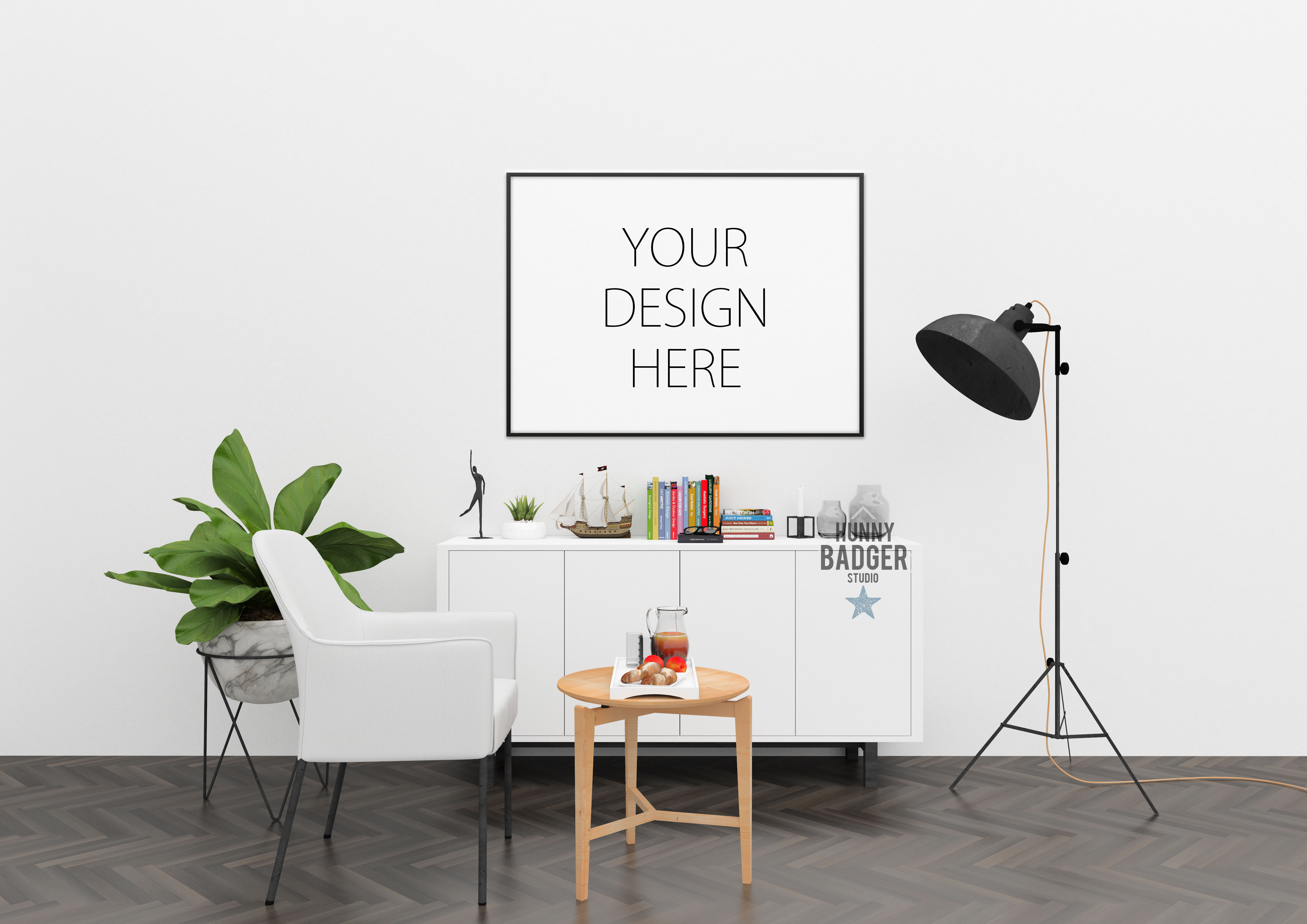 Blank wall mockup - wall art mock up example image 5